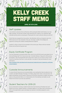 Kelly Creek Staff Memo