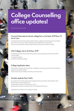 College Counselling office updates!
