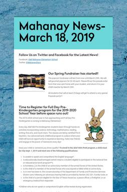 Mahanay News- March 18, 2019