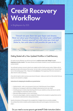 Credit Recovery Workflow Update