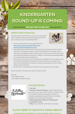 Kindergarten Round-Up Is Coming!