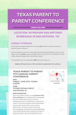 Texas Parent to Parent Conference