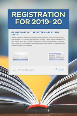 Registration for 2019-20