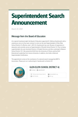 Superintendent Search Announcement