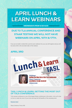 April Lunch & Learn Webinars