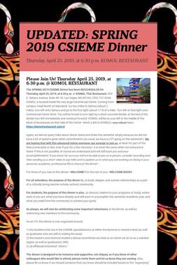 UPDATED: SPRING 2019 CSIEME Dinner