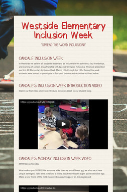 Westside Elementary Inclusion Week