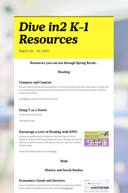 Dive in2 K-1 Resources