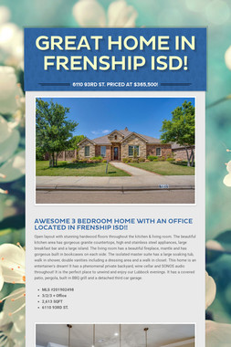 Great Home in Frenship ISD!