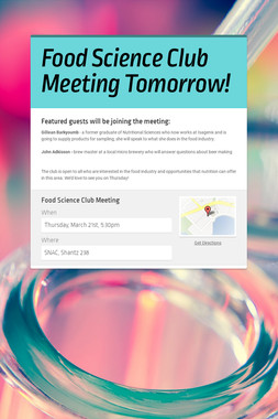Food Science Club Meeting Tomorrow!