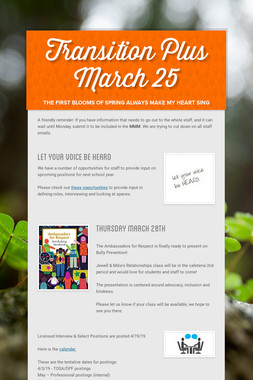 Transition Plus         March 25