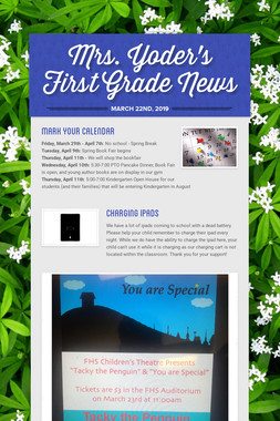 Mrs. Yoder's First Grade News
