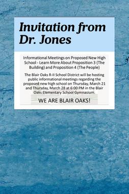Invitation from Dr. Jones