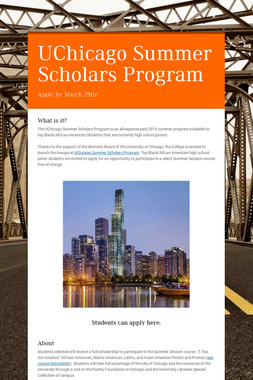 UChicago Summer Scholars Program