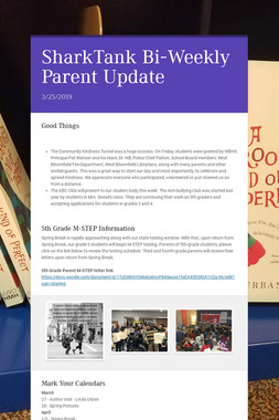 SharkTank  Bi-Weekly Parent Update