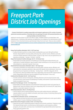 Freeport Park District Job Openings