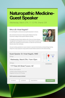 Naturopathic Medicine-Guest Speaker