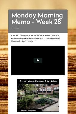 Monday Morning Memo - Week 28