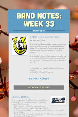 Band Notes: Week 33
