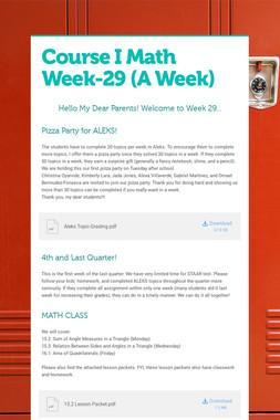 Course I Math    Week-29  (A Week)
