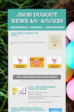 JROB Dugout News 4/1- 4/5/2019