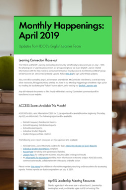 Monthly Happenings: April 2019