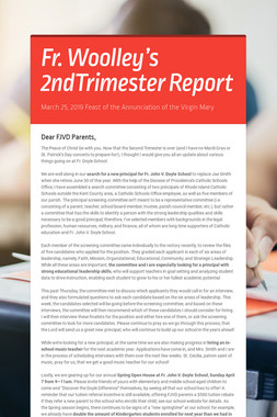 Fr. Woolley's 2ndTrimester Report