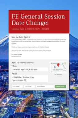 FE General Session Date Change!