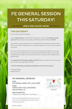 FE General Session This Saturday!