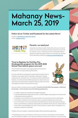 Mahanay News- March 25, 2019