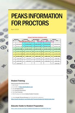 PEAKS INFORMATION FOR PROCTORS