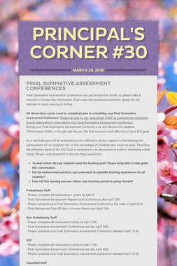 Principal's Corner #30