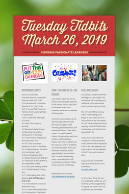 Tuesday Tidbits March 26,  2019