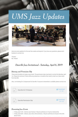 UMS Jazz Updates