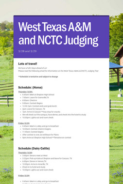 West Texas A&M and NCTC Judging