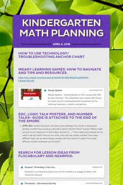 Kindergarten Math Planning