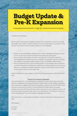 Budget Update & Pre-K Expansion