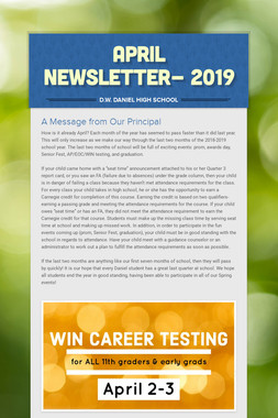 April Newsletter- 2019