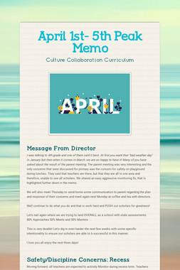 April 1st- 5th  Peak Memo