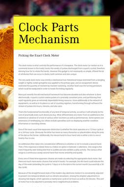Clock Parts Mechanism