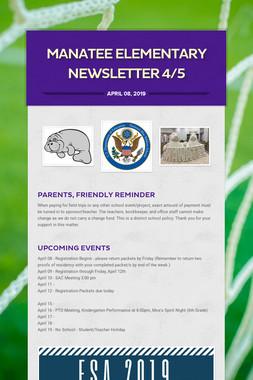 Manatee Elementary Newsletter  4/5