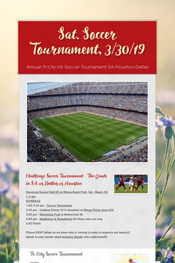 Sat. Soccer Tournament, 3/30/19