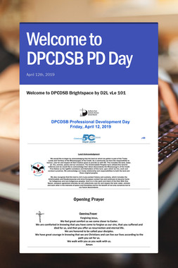 Welcome to DPCDSB PD Day
