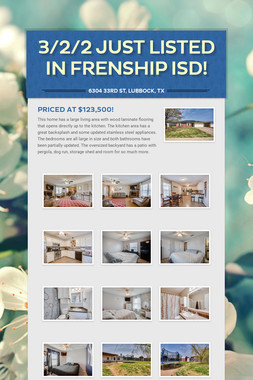3/2/2 Just Listed in Frenship ISD!