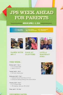 JPS Week Ahead for Parents