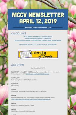 MCCV Newsletter April 12, 2019