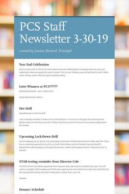 PCS Staff Newsletter 3-30-19