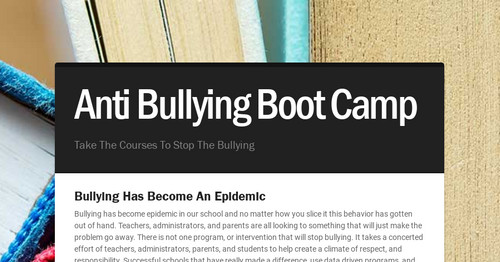 Anti Bullying Boot Camp | Smore Newsletters for Education