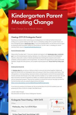 Kindergarten Parent Meeting Change