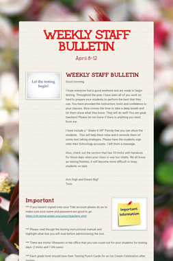 WEEKLY STAFF BULLETIN